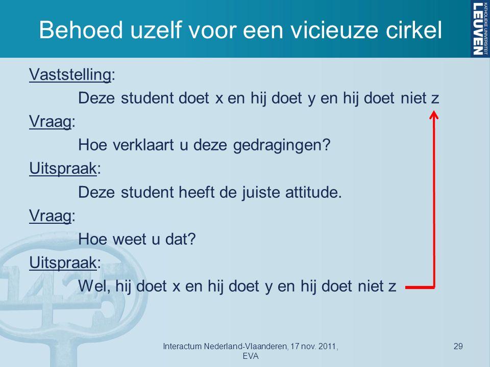 Behoed uzelf voor een vicieuze cirkel Vaststelling: Deze student doet x en hij doet y en hij doet niet z Vraag: Hoe verklaart u deze gedragingen.