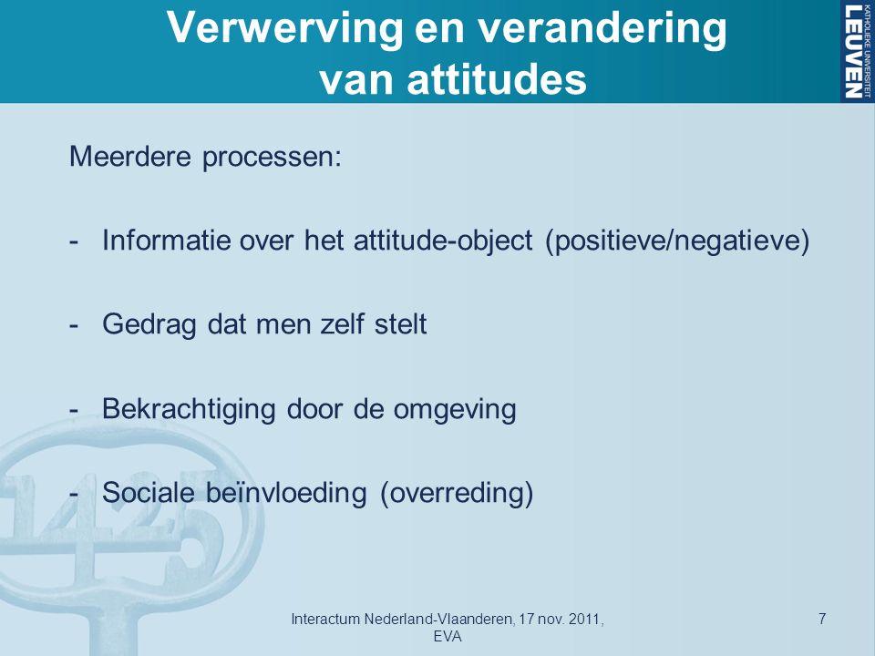 Verwerving en verandering van attitudes Meerdere processen: -Informatie over het attitude-object (positieve/negatieve) -Gedrag dat men zelf stelt -Bekrachtiging door de omgeving -Sociale beïnvloeding (overreding) Interactum Nederland-Vlaanderen, 17 nov.