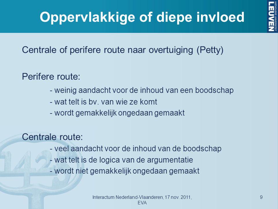 Oppervlakkige of diepe invloed Centrale of perifere route naar overtuiging (Petty) Perifere route: - weinig aandacht voor de inhoud van een boodschap - wat telt is bv.