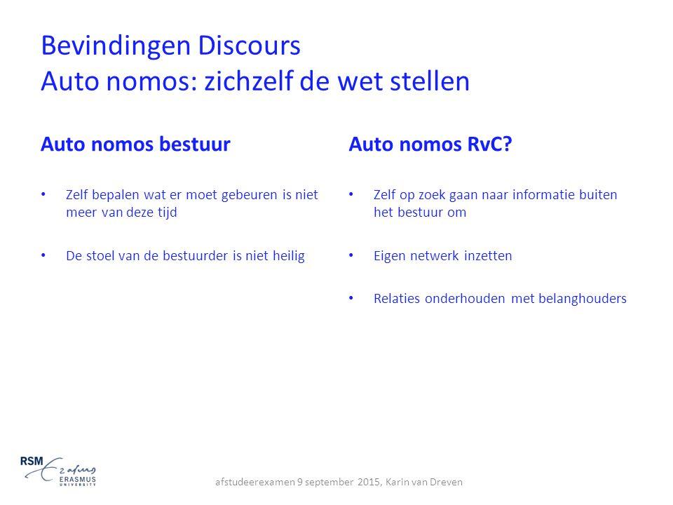 Bevindingen Discours Auto nomos: zichzelf de wet stellen Auto nomos bestuur Zelf bepalen wat er moet gebeuren is niet meer van deze tijd De stoel van