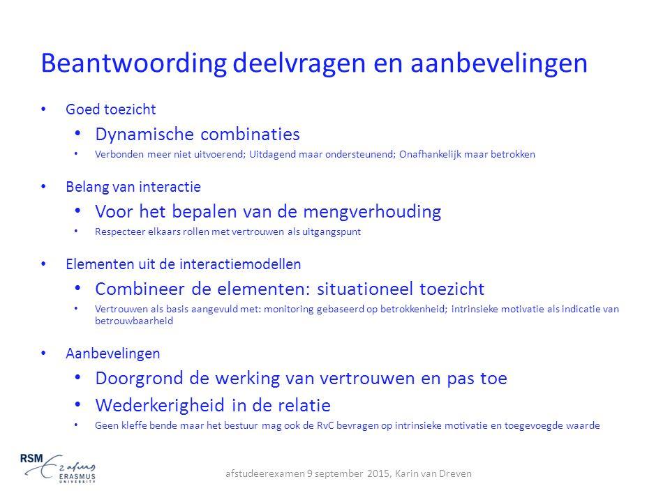 Beantwoording deelvragen en aanbevelingen Goed toezicht Dynamische combinaties Verbonden meer niet uitvoerend; Uitdagend maar ondersteunend; Onafhanke