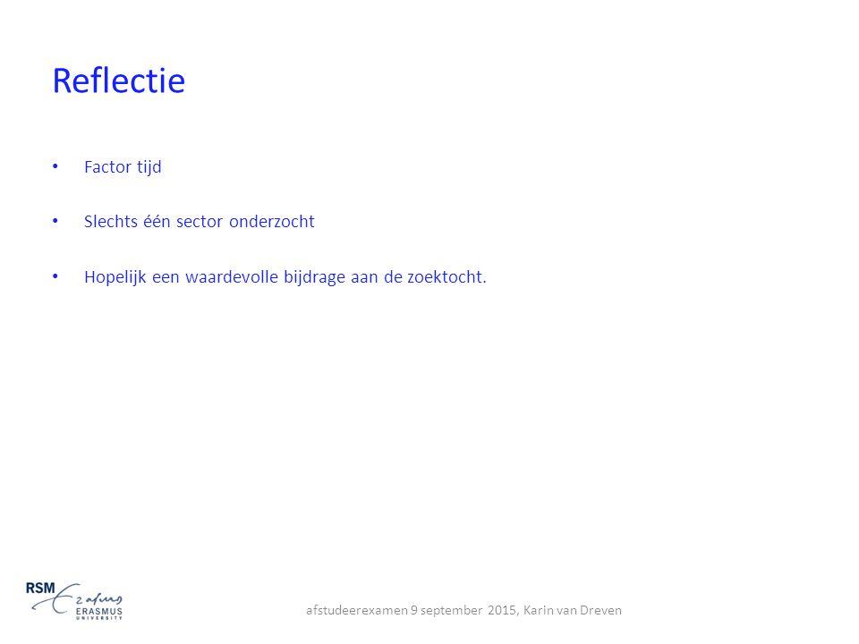 Reflectie Factor tijd Slechts één sector onderzocht Hopelijk een waardevolle bijdrage aan de zoektocht. afstudeerexamen 9 september 2015, Karin van Dr