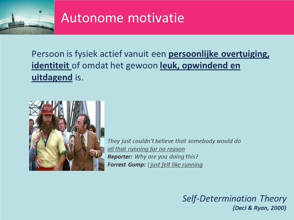 Autonome motivatie Persoon is fysiek actief vanuit een persoonlijke overtuiging, identiteit of omdat het gewoon leuk, opwindend en uitdagend is.