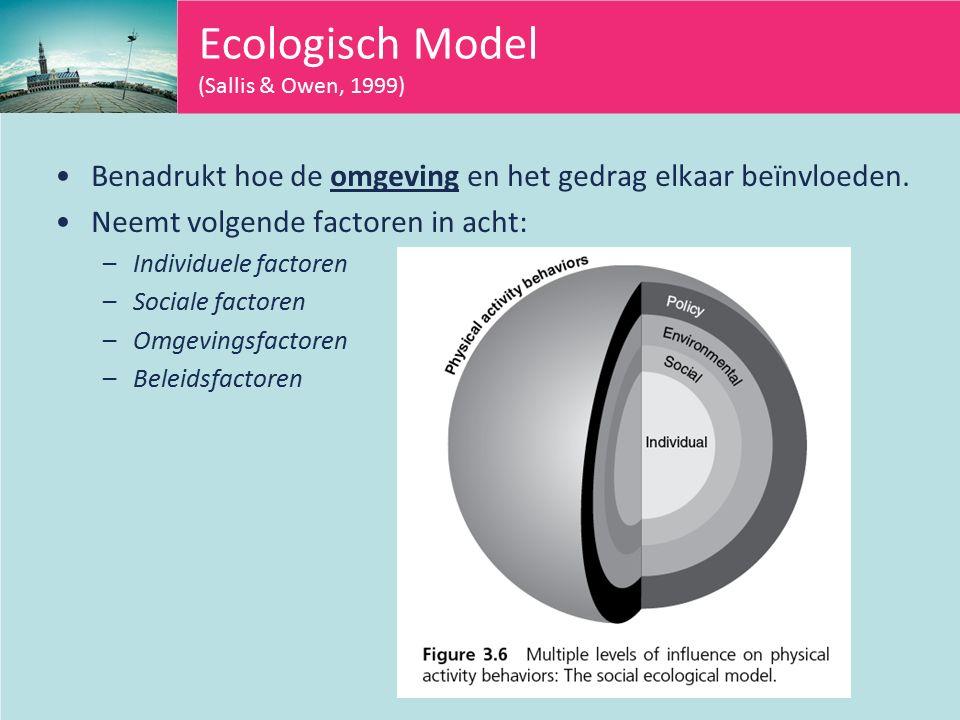 Ecologisch Model (Sallis & Owen, 1999) Benadrukt hoe de omgeving en het gedrag elkaar beïnvloeden.