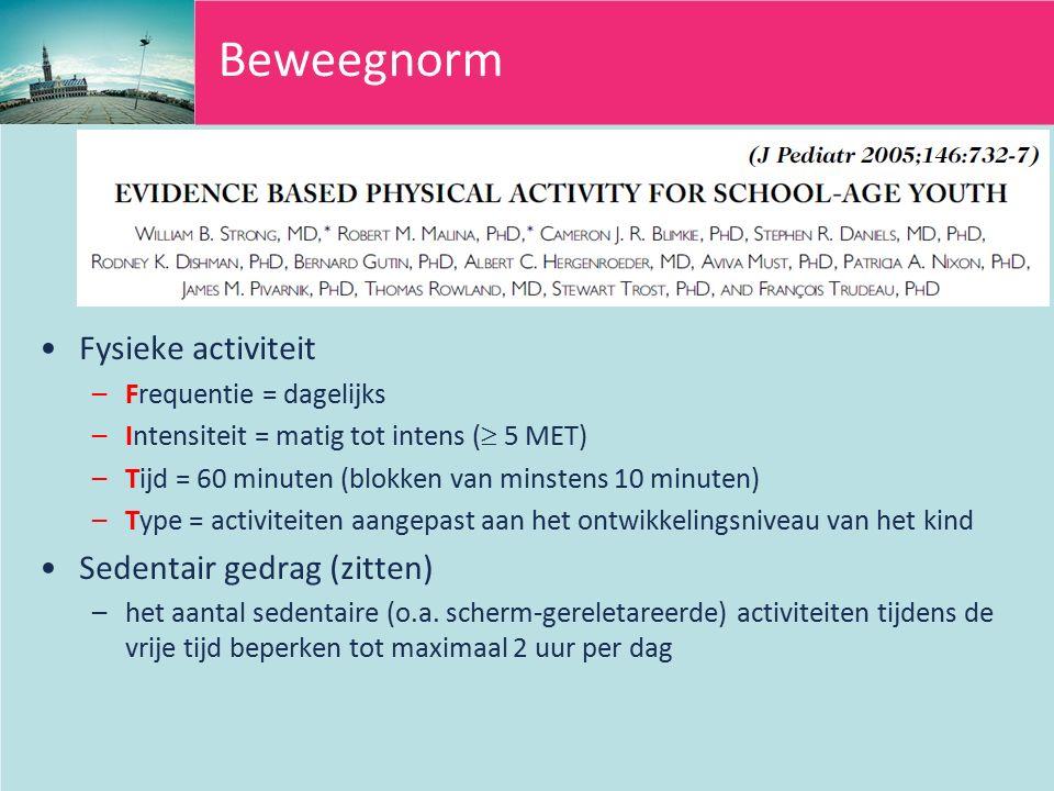 Beweegnorm Fysieke activiteit –Frequentie = dagelijks –Intensiteit = matig tot intens (  5 MET) –Tijd = 60 minuten (blokken van minstens 10 minuten) –Type = activiteiten aangepast aan het ontwikkelingsniveau van het kind Sedentair gedrag (zitten) –het aantal sedentaire (o.a.