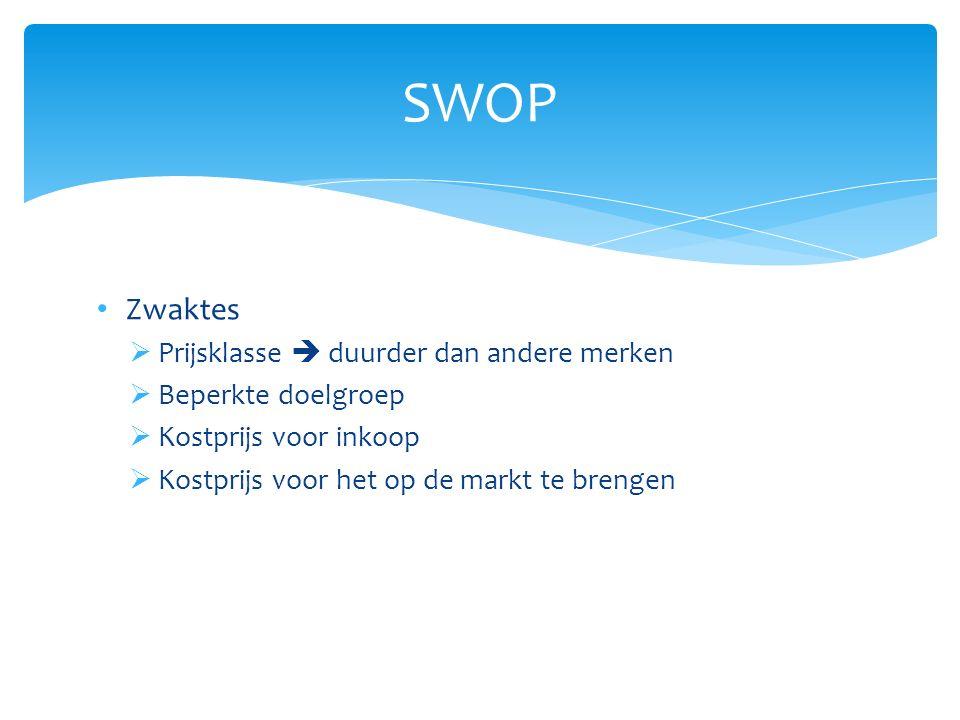 Zwaktes  Prijsklasse  duurder dan andere merken  Beperkte doelgroep  Kostprijs voor inkoop  Kostprijs voor het op de markt te brengen SWOP