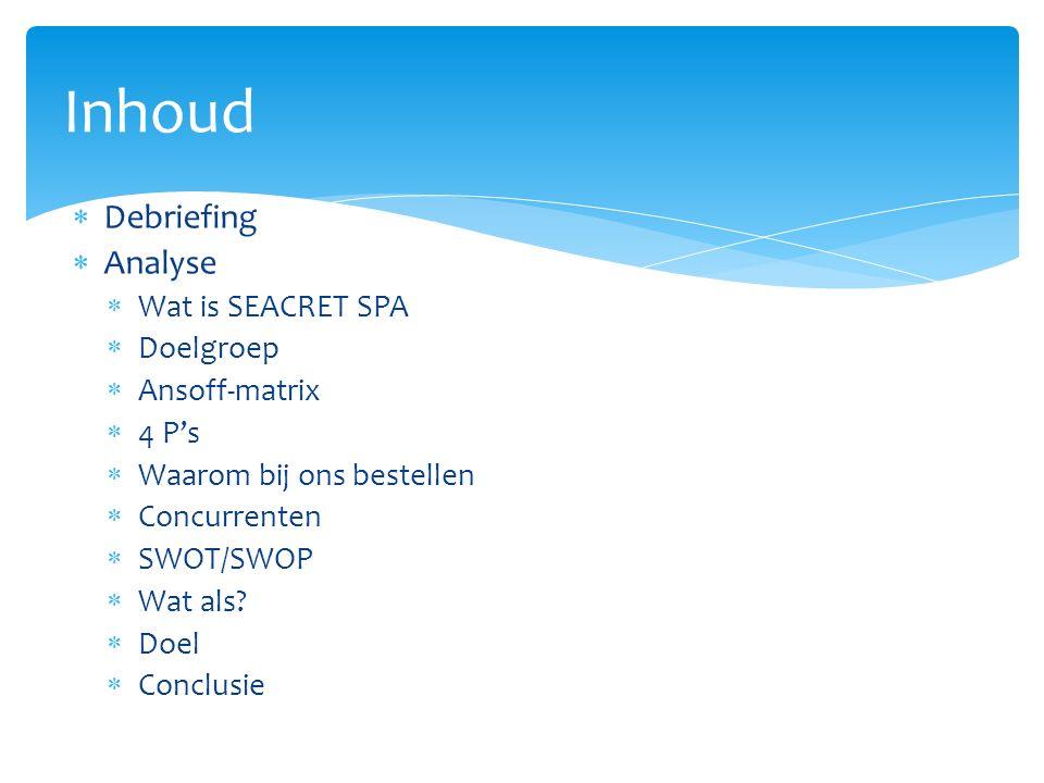  Debriefing  Analyse  Wat is SEACRET SPA  Doelgroep  Ansoff-matrix  4 P's  Waarom bij ons bestellen  Concurrenten  SWOT/SWOP  Wat als.