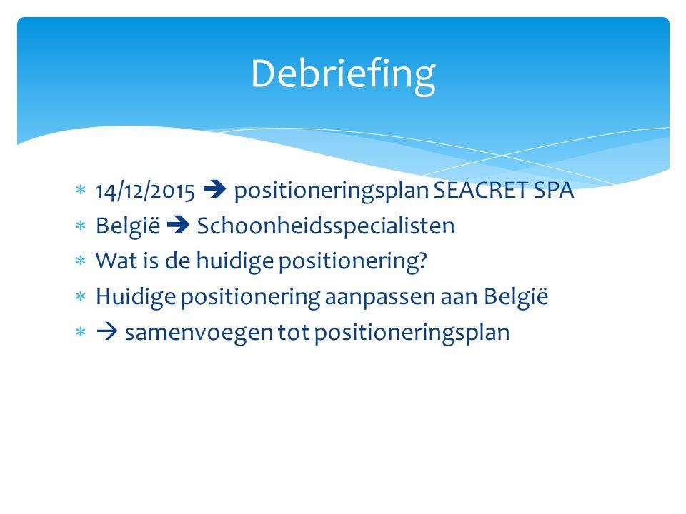  14/12/2015  positioneringsplan SEACRET SPA  België  Schoonheidsspecialisten  Wat is de huidige positionering.