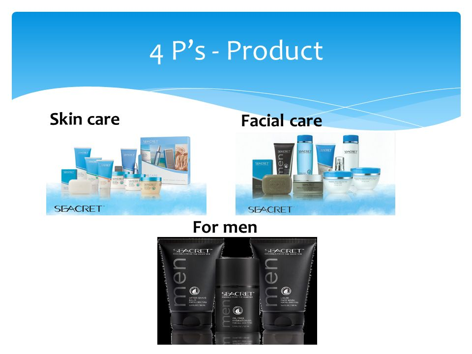 4 P's - Product Skin care Facial care For men