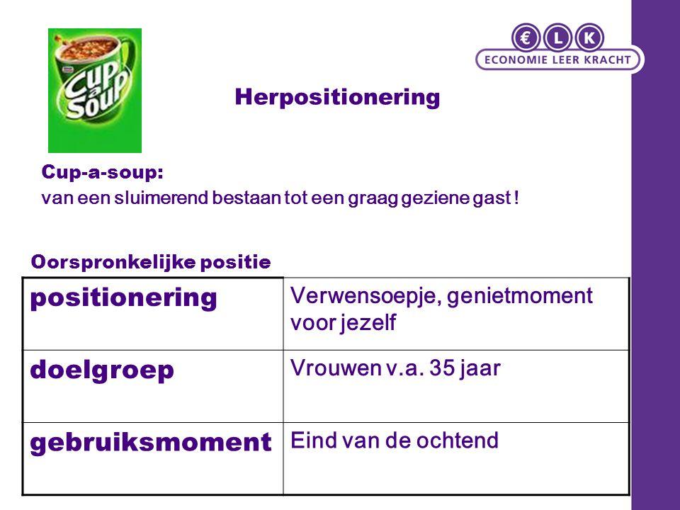 Herpositionering Cup-a-soup: van een sluimerend bestaan tot een graag geziene gast ! positionering Verwensoepje, genietmoment voor jezelf doelgroep Vr