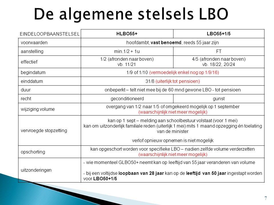 7 EINDELOOPBAANSTELSELHLBO55+LBO55+1/5 voorwaardenhoofdambt, vast benoemd, reeds 55 jaar zijn aanstellingmin.1/2 + 1uFT effectief 1/2 (afronden naar boven) vb.