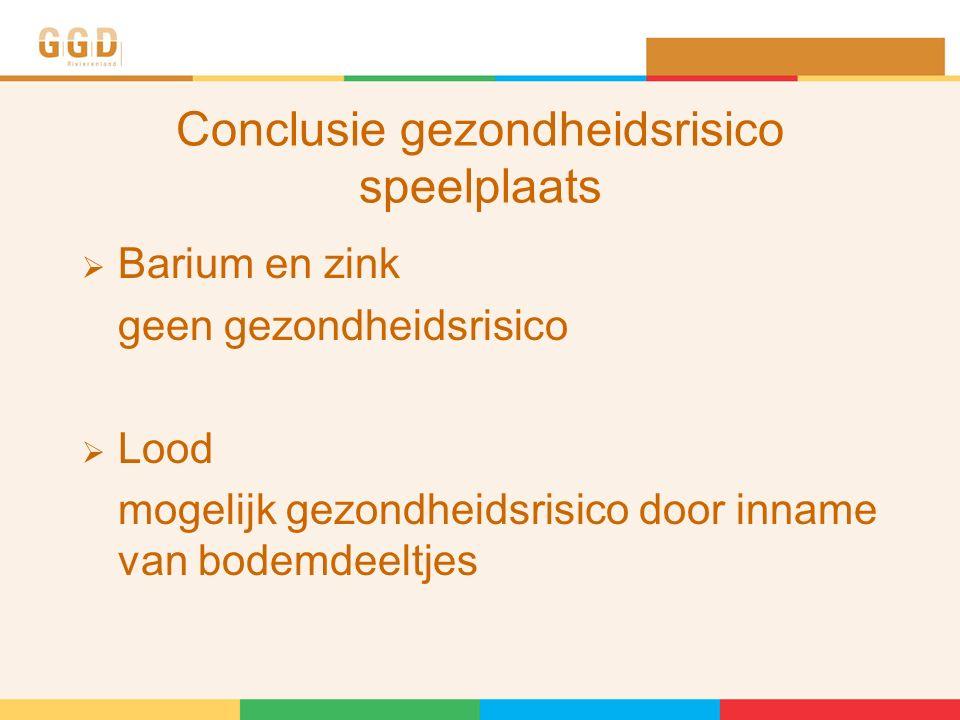 Conclusie gezondheidsrisico speelplaats  Barium en zink geen gezondheidsrisico  Lood mogelijk gezondheidsrisico door inname van bodemdeeltjes