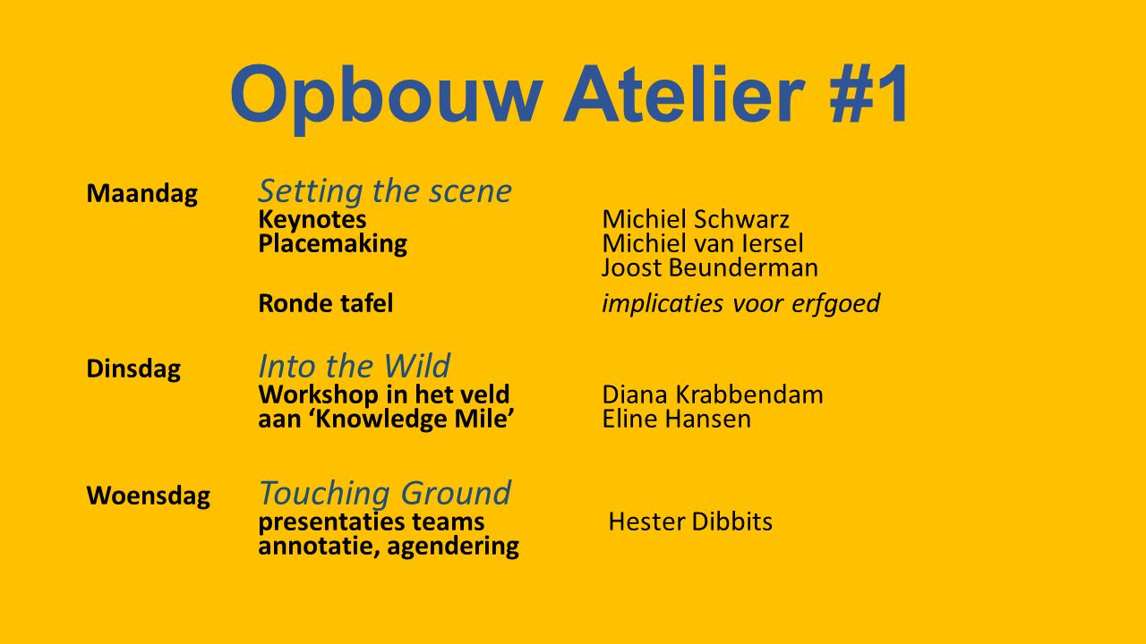 Opbouw Atelier #1 Maandag Setting the scene KeynotesMichiel Schwarz PlacemakingMichiel van Iersel Joost Beunderman Ronde tafelimplicaties voor erfgoed Dinsdag Into the Wild Workshop in het veldDiana Krabbendam aan 'Knowledge Mile'Eline Hansen Woensdag Touching Ground presentaties teams Hester Dibbits annotatie, agendering