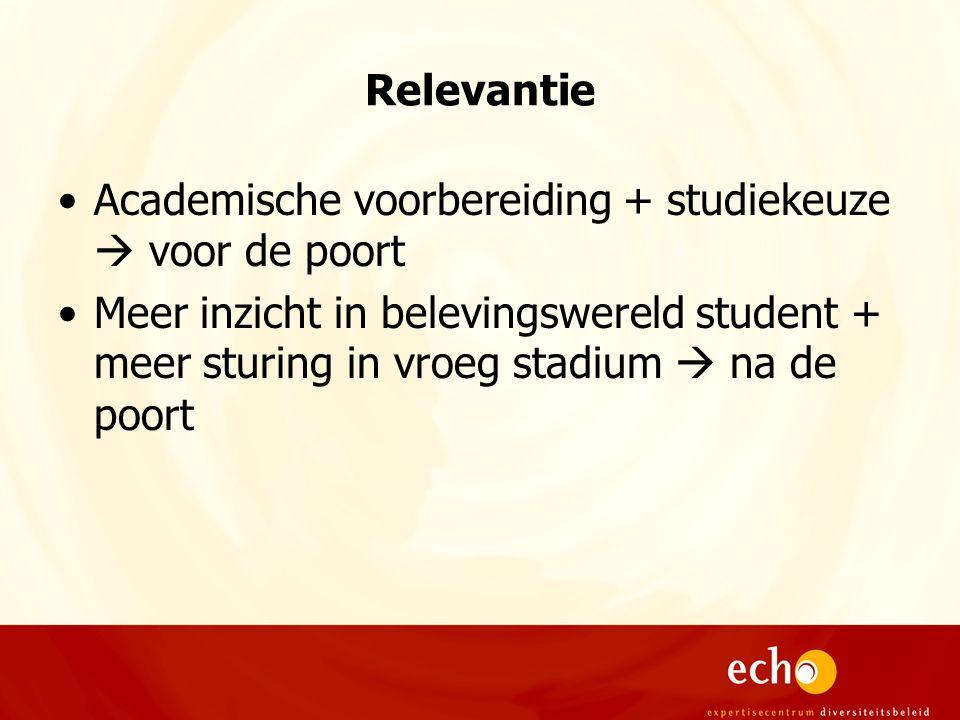 Relevantie Academische voorbereiding + studiekeuze  voor de poort Meer inzicht in belevingswereld student + meer sturing in vroeg stadium  na de poort