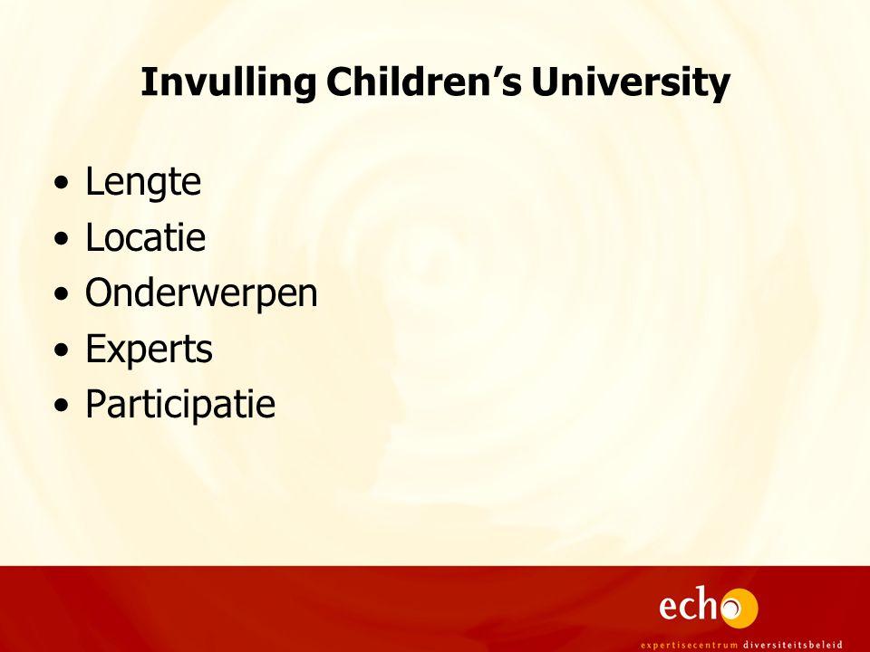 Invulling Children's University Lengte Locatie Onderwerpen Experts Participatie