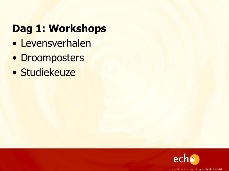 Dag 1: Workshops Levensverhalen Droomposters Studiekeuze
