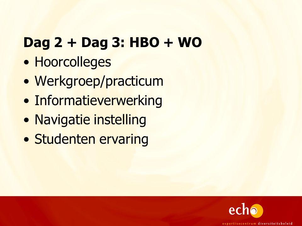Dag 2 + Dag 3: HBO + WO Hoorcolleges Werkgroep/practicum Informatieverwerking Navigatie instelling Studenten ervaring