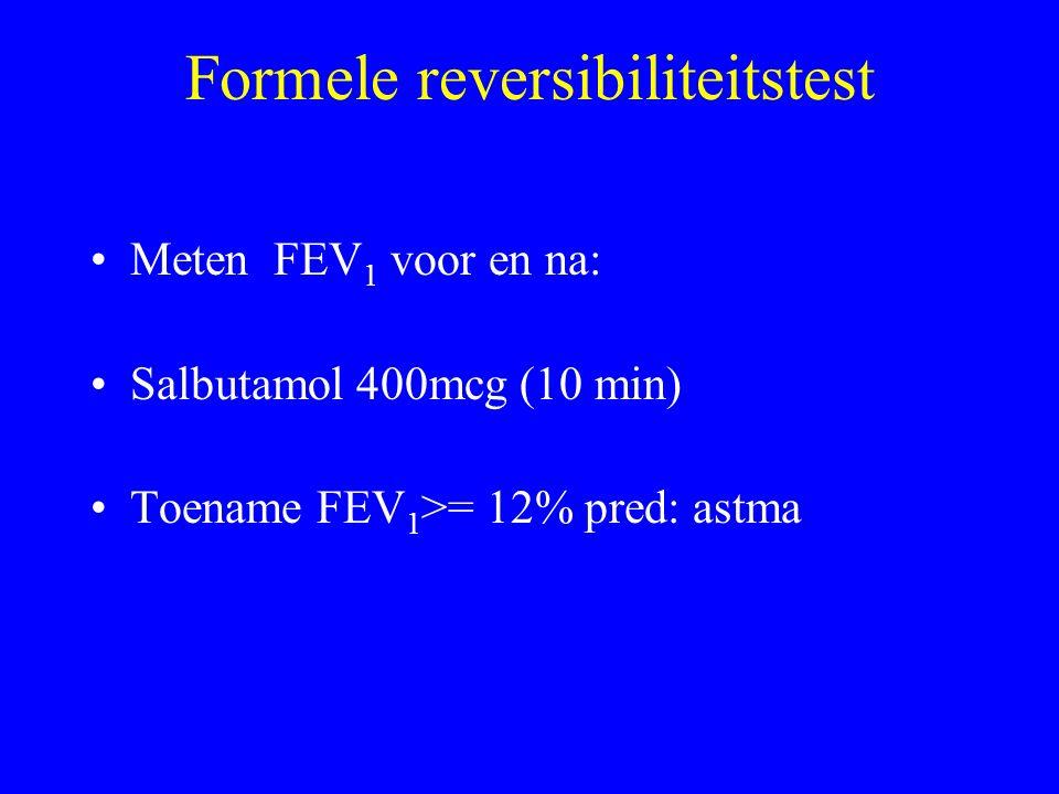 Formele reversibiliteitstest Meten FEV 1 voor en na: Salbutamol 400mcg (10 min) Toename FEV 1 >= 12% pred: astma