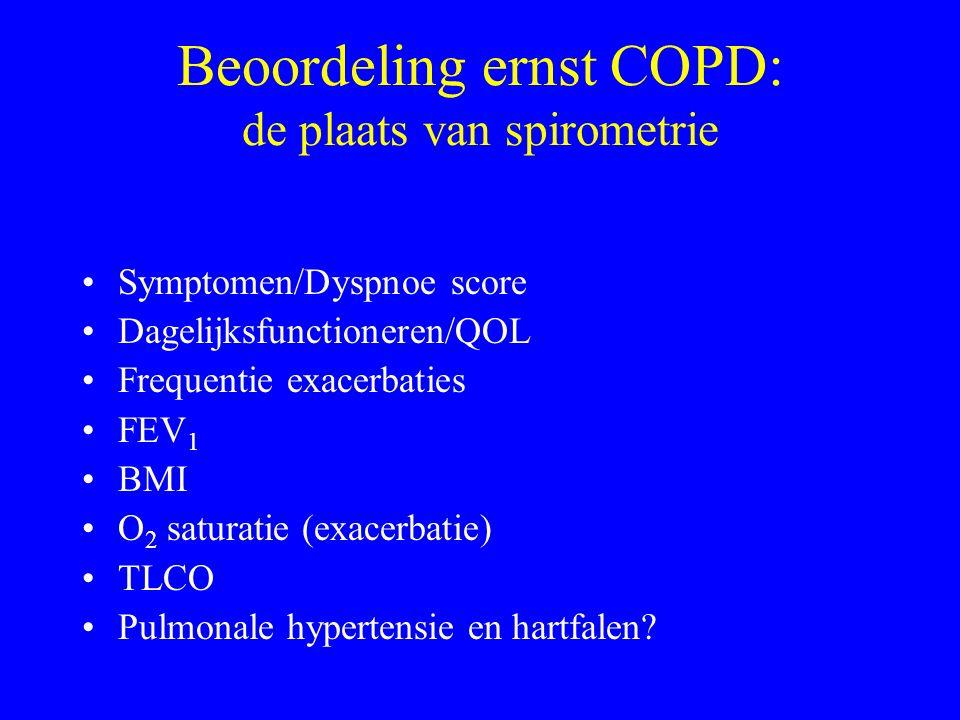 Beoordeling ernst COPD: de plaats van spirometrie Symptomen/Dyspnoe score Dagelijksfunctioneren/QOL Frequentie exacerbaties FEV 1 BMI O 2 saturatie (e