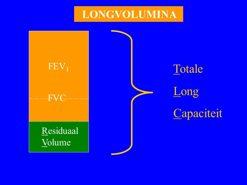 FEV 1 Residuaal Volume FVC Totale Long Capaciteit LONGVOLUMINA