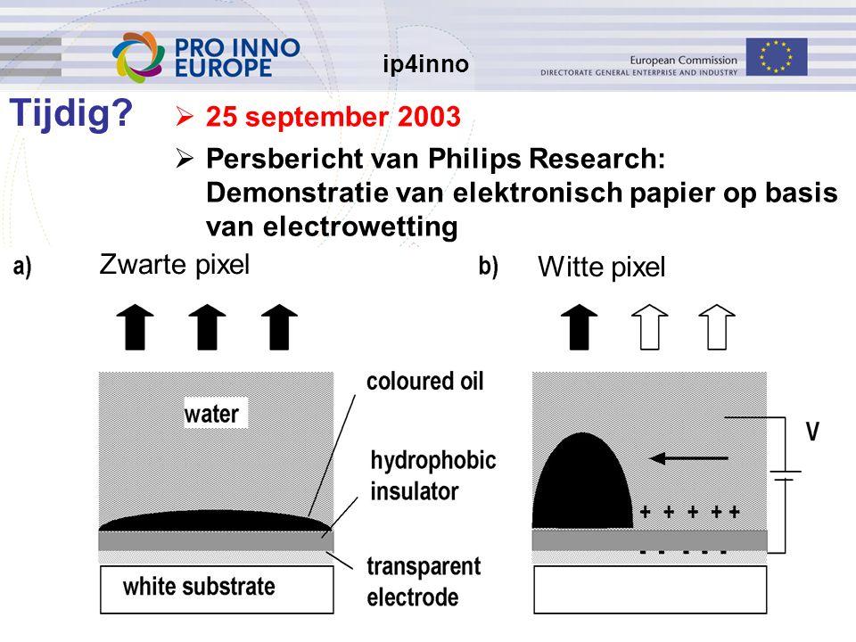 ip4inno 5/30/201612  25 september 2003  Persbericht van Philips Research: Demonstratie van elektronisch papier op basis van electrowetting Tijdig.