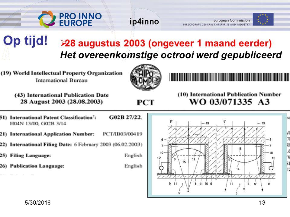 ip4inno 5/30/201613  28 augustus 2003 (ongeveer 1 maand eerder) Het overeenkomstige octrooi werd gepubliceerd Op tijd!