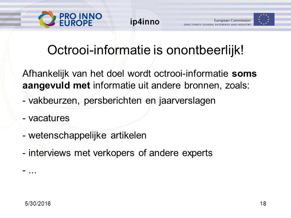 ip4inno 5/30/201618 Octrooi-informatie is onontbeerlijk.