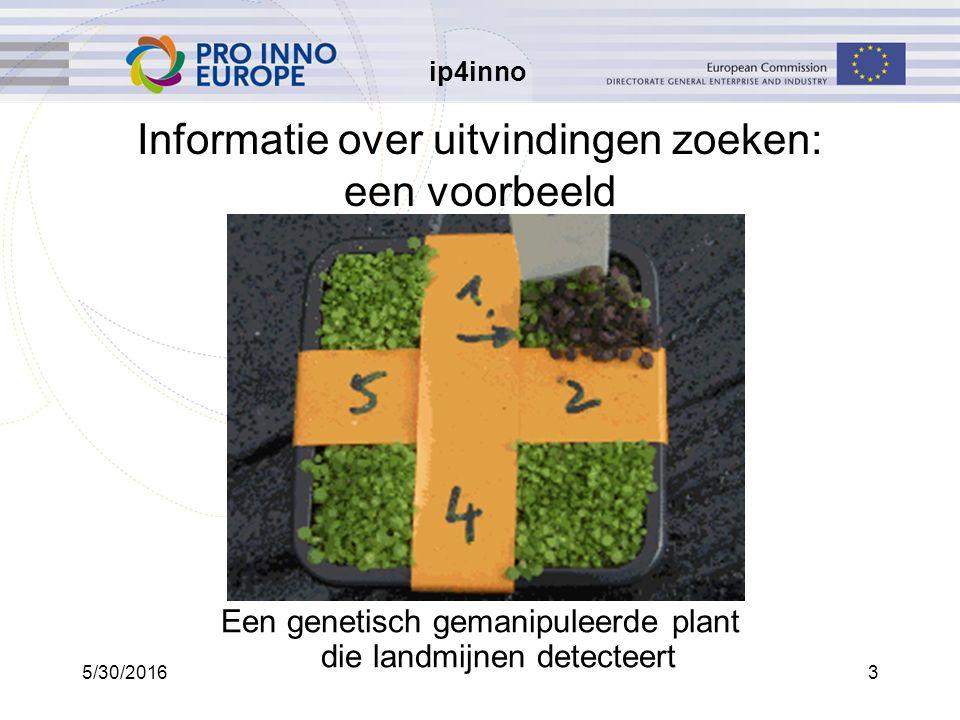 ip4inno 5/30/20163 Informatie over uitvindingen zoeken: een voorbeeld Een genetisch gemanipuleerde plant die landmijnen detecteert