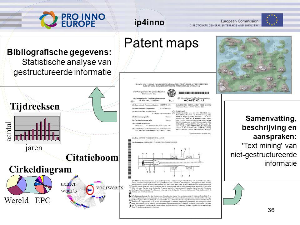 ip4inno 5/30/201636 Bibliografische gegevens: Statistische analyse van gestructureerde informatie Samenvatting, beschrijving en aanspraken: Text mining van niet-gestructureerde informatie Tijdreeksen Cirkeldiagram Citatieboom WereldEPC achter- waarts voorwaarts aantal Patent maps jaren