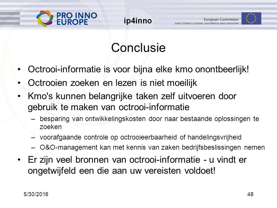 ip4inno 5/30/201648 Conclusie Octrooi-informatie is voor bijna elke kmo onontbeerlijk.