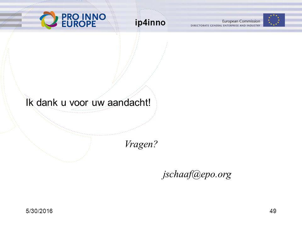ip4inno 5/30/201649 Ik dank u voor uw aandacht! jschaaf@epo.org Vragen