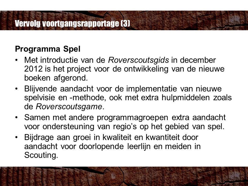 Vervolg voortgangsrapportage (3) Programma Spel Met introductie van de Roverscoutsgids in december 2012 is het project voor de ontwikkeling van de nieuwe boeken afgerond.