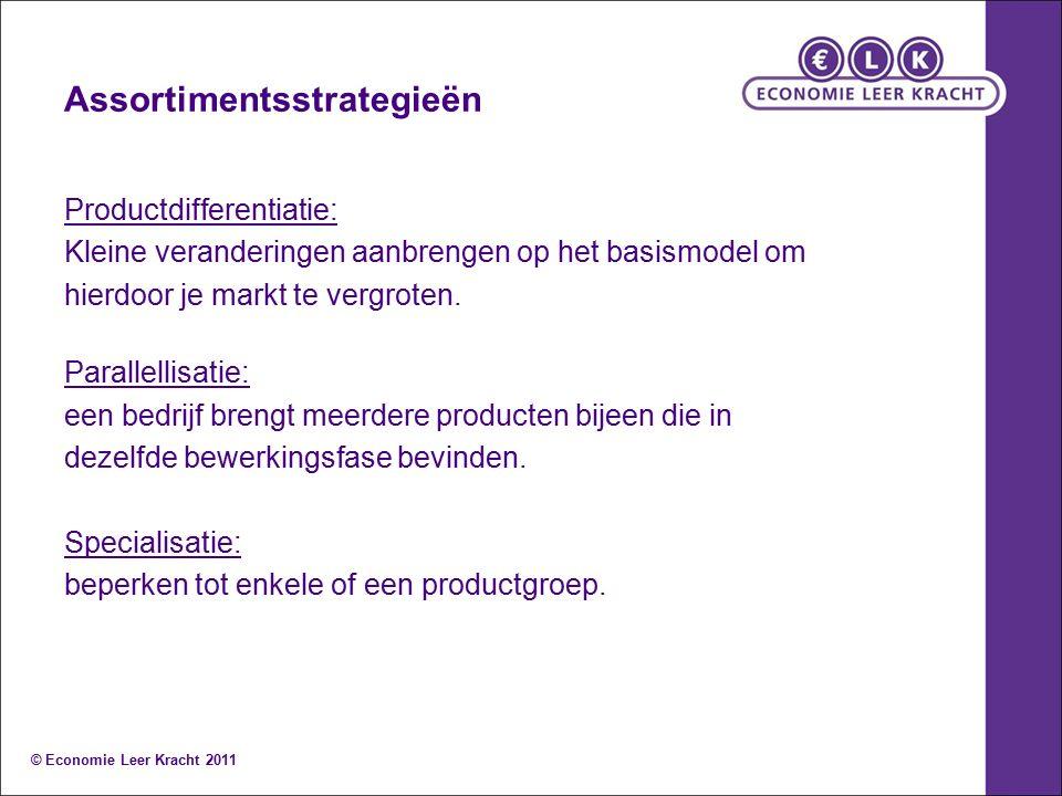 Assortimentsstrategieën Productdifferentiatie: Kleine veranderingen aanbrengen op het basismodel om hierdoor je markt te vergroten.