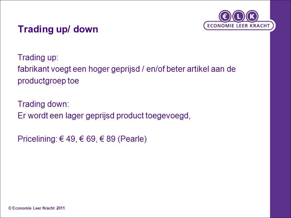 Trading up/ down Trading up: fabrikant voegt een hoger geprijsd / en/of beter artikel aan de productgroep toe Trading down: Er wordt een lager geprijsd product toegevoegd, Pricelining: € 49, € 69, € 89 (Pearle) © Economie Leer Kracht 2011