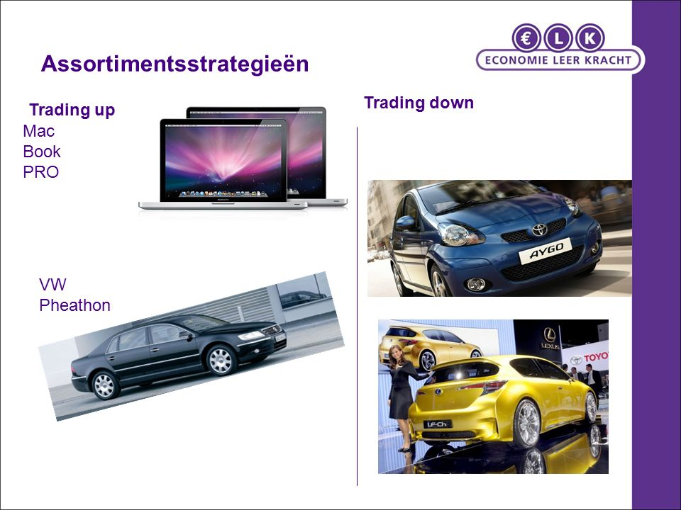 Assortimentsstrategieën Trading up VW Pheathon Mac Book PRO Trading down