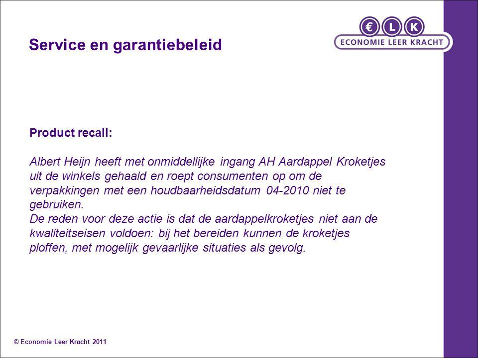 Service en garantiebeleid Product recall: Albert Heijn heeft met onmiddellijke ingang AH Aardappel Kroketjes uit de winkels gehaald en roept consumenten op om de verpakkingen met een houdbaarheidsdatum 04-2010 niet te gebruiken.