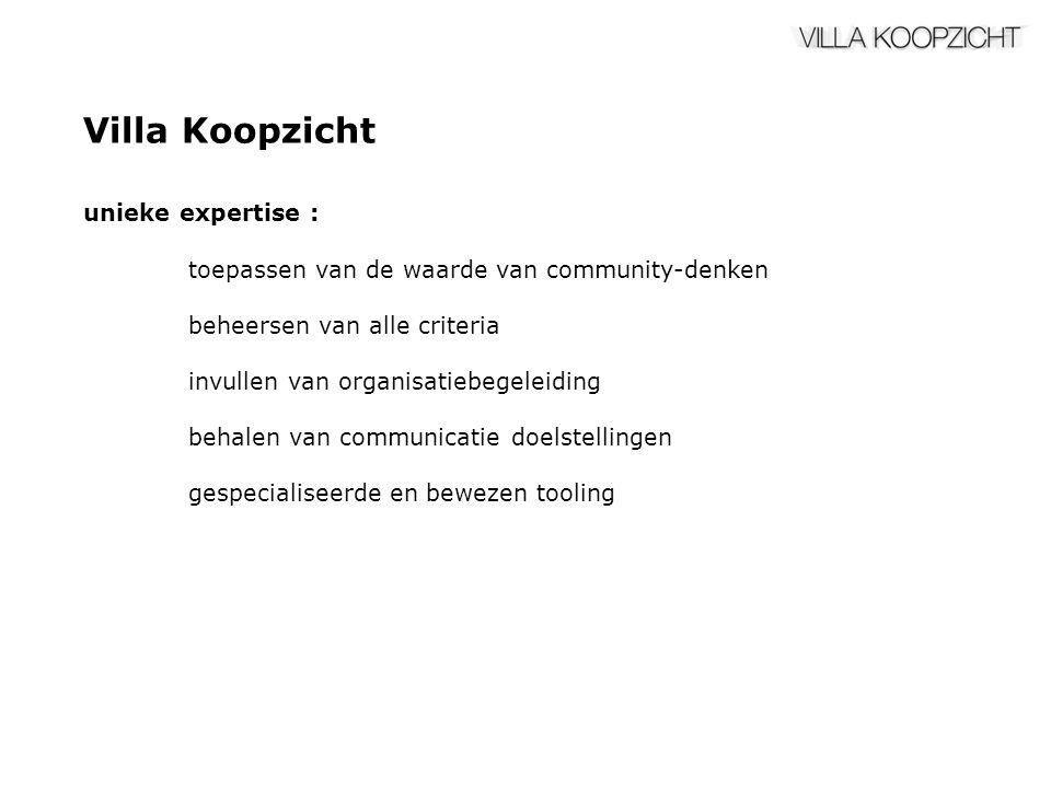 Villa Koopzicht unieke expertise : toepassen van de waarde van community-denken beheersen van alle criteria invullen van organisatiebegeleiding behalen van communicatie doelstellingen gespecialiseerde en bewezen tooling