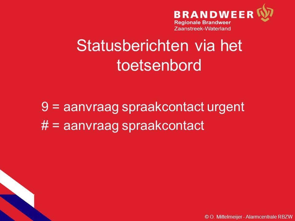 Statusberichten via het toetsenbord 9 = aanvraag spraakcontact urgent # = aanvraag spraakcontact © O.