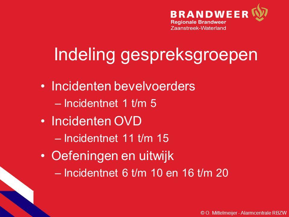 Indeling gespreksgroepen Incidenten bevelvoerders –Incidentnet 1 t/m 5 Incidenten OVD –Incidentnet 11 t/m 15 Oefeningen en uitwijk –Incidentnet 6 t/m 10 en 16 t/m 20 © O.