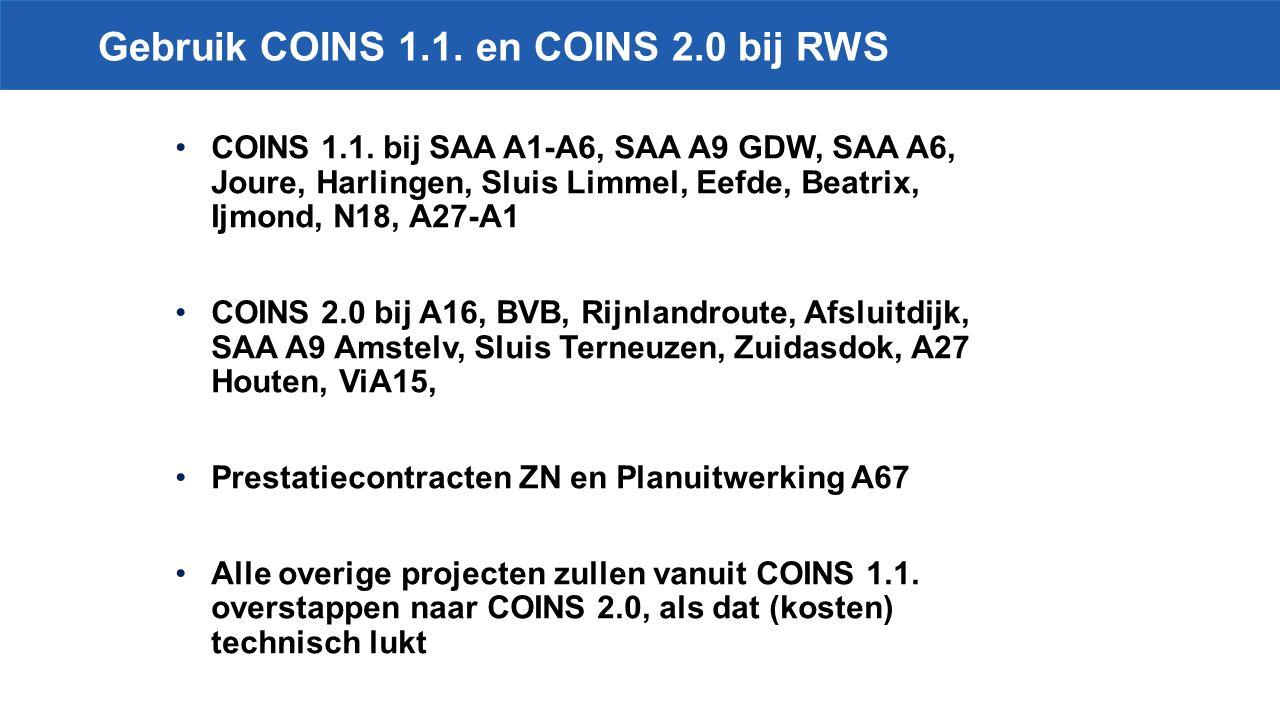 Gebruik COINS 1.1.en COINS 2.0 bij RWS COINS 1.1.