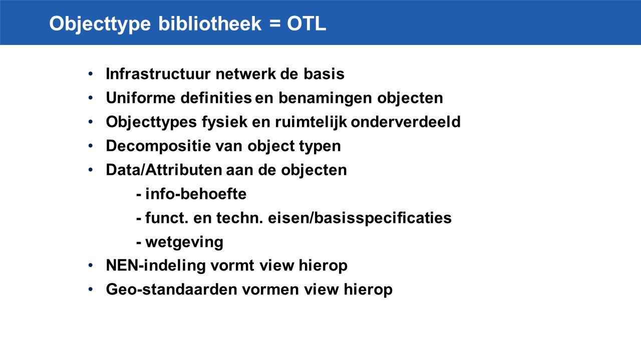 Objecttype bibliotheek = OTL Infrastructuur netwerk de basis Uniforme definities en benamingen objecten Objecttypes fysiek en ruimtelijk onderverdeeld Decompositie van object typen Data/Attributen aan de objecten - info-behoefte - funct.