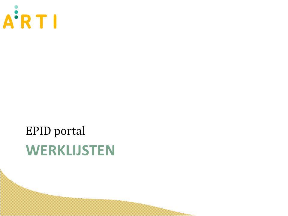 WERKLIJSTEN EPID portal