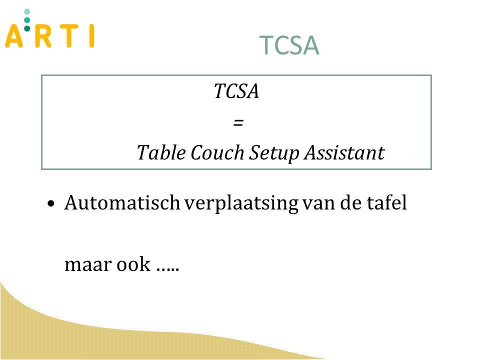 TCSA = Table Couch Setup Assistant Automatisch verplaatsing van de tafel maar ook …..