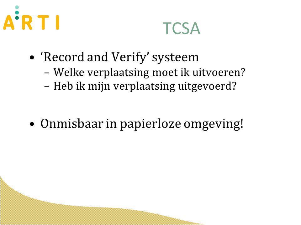 TCSA 'Record and Verify' systeem –Welke verplaatsing moet ik uitvoeren.