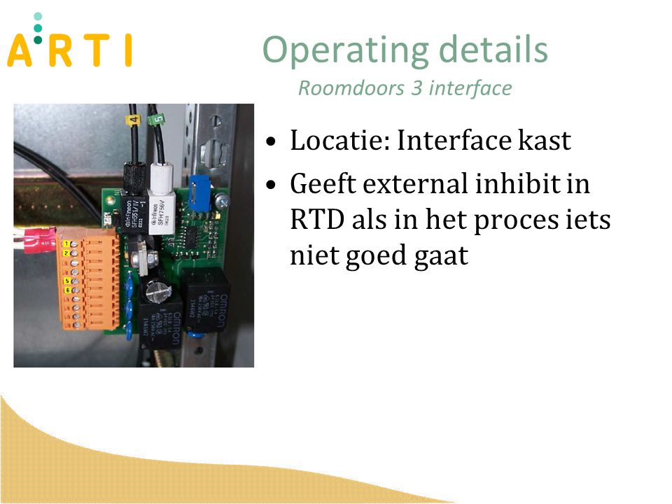 Operating details Roomdoors 3 interface Locatie: Interface kast Geeft external inhibit in RTD als in het proces iets niet goed gaat