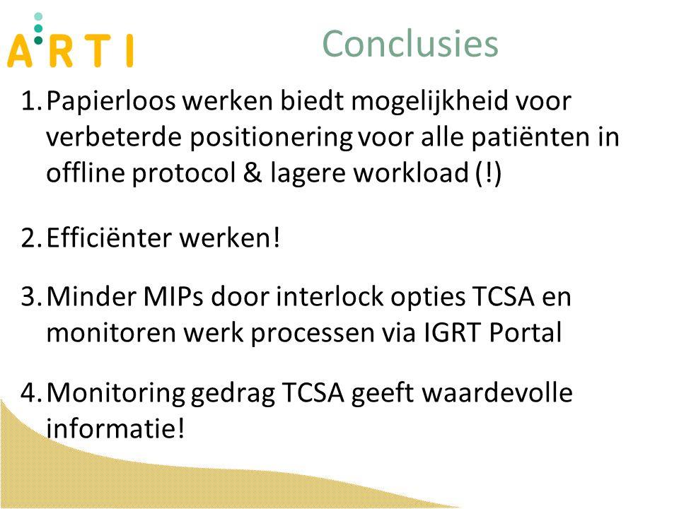 Conclusies 1.Papierloos werken biedt mogelijkheid voor verbeterde positionering voor alle patiënten in offline protocol & lagere workload (!) 2.Efficiënter werken.
