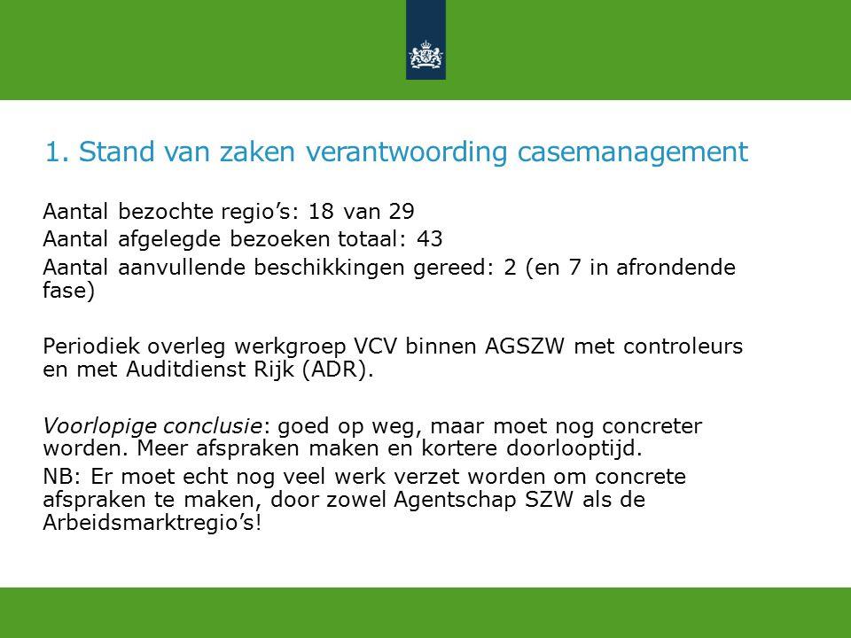 1. Stand van zaken verantwoording casemanagement Aantal bezochte regio's: 18 van 29 Aantal afgelegde bezoeken totaal: 43 Aantal aanvullende beschikkin