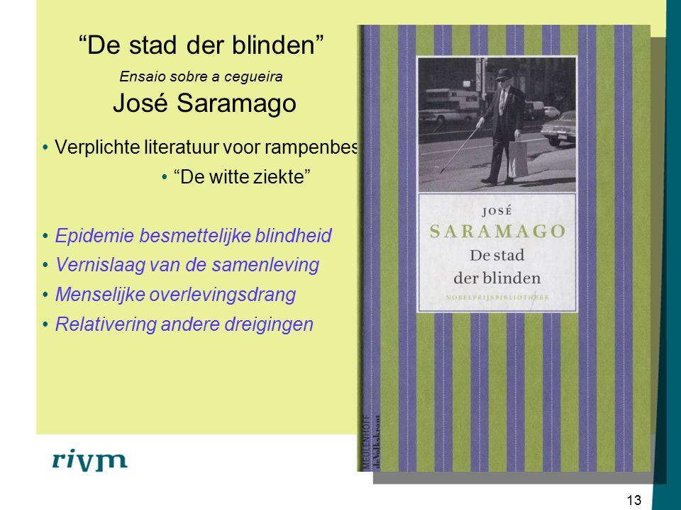 13 De stad der blinden Ensaio sobre a cegueira José Saramago Verplichte literatuur voor rampenbestrijders De witte ziekte Epidemie besmettelijke blindheid Vernislaag van de samenleving Menselijke overlevingsdrang Relativering andere dreigingen
