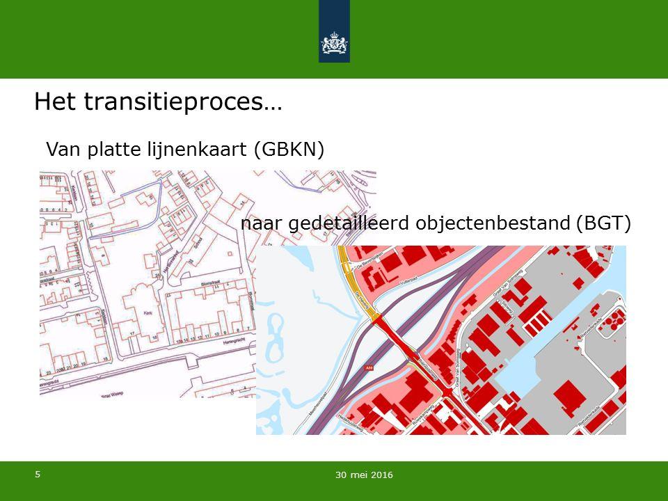 5 Het transitieproces… 30 mei 2016 naar gedetailleerd objectenbestand (BGT) Van platte lijnenkaart (GBKN)