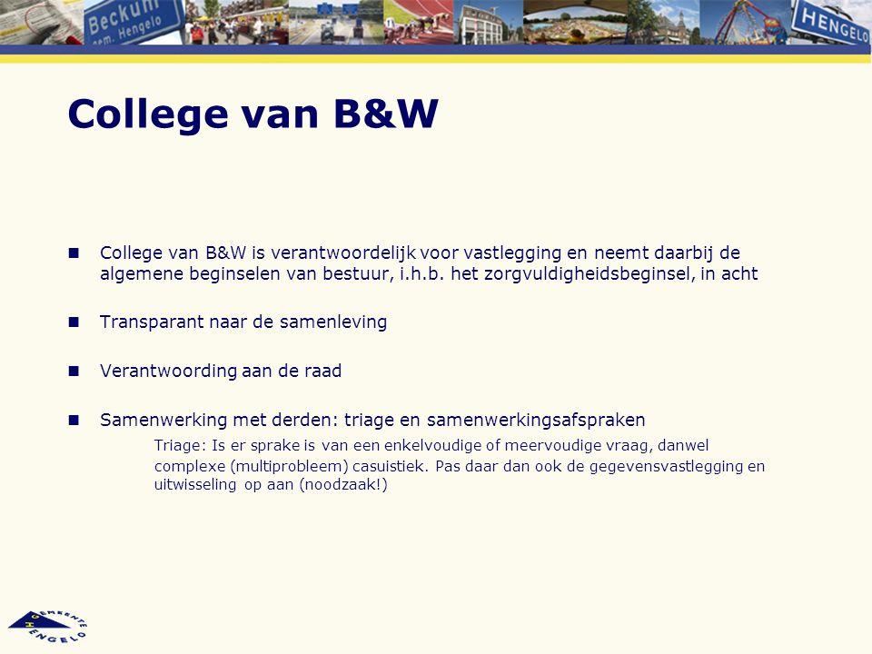 College van B&W College van B&W is verantwoordelijk voor vastlegging en neemt daarbij de algemene beginselen van bestuur, i.h.b. het zorgvuldigheidsbe